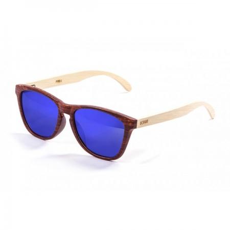 Očala Ocean SEA WOOD - 57001.3 Bamboo Natural Arm-Brown Front-Revo Blue Len 1111.0s