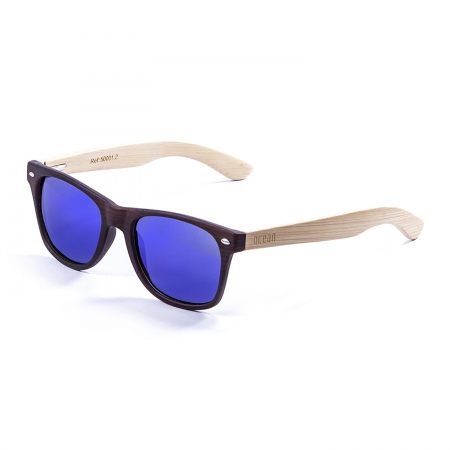 Očala Ocean BEACH WOOD - 50001.2 Bamboo Natural Arm-Brown Dark Front-Revo Blue Lens