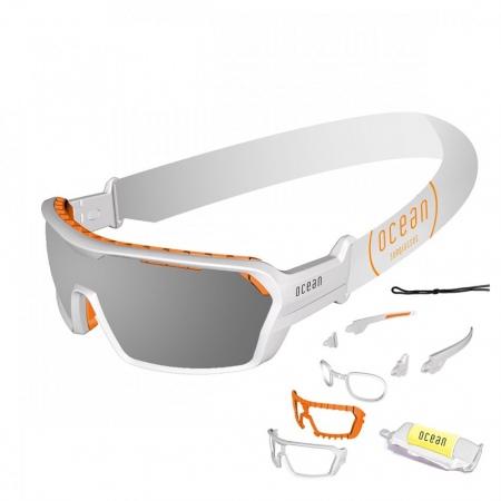 Očala Ocean CHAMELEON - 3700.6X Matte White-Revo GreyLens-Orange Nosepad-Tipsfoam-White Strap