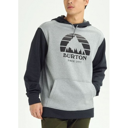 Majica Burton OAK Hoodie - 021 Grey Heather-True Black