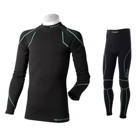 Spodnje Perilo Komplet Mico BX 2807 SHIRT+TIGHT pants Junior - 460 Nero Verde